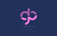 Gb G B  Pink Blue Alphabet Letter Logo Icon