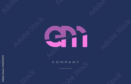 em e m  pink blue alphabet letter logo icon Canvas Print