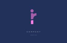 Ir I R  Pink Blue Alphabet Letter Logo Icon
