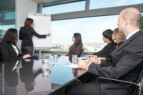 Fotografie, Obraz  Workshop mit sechs Businesspersonen im Panoramabüro