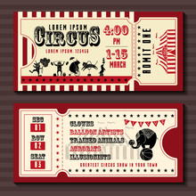 Circus Show Horizontal Tickets Front And Back Side Vector Templates