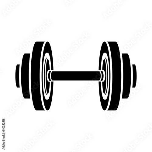Fotografia  monochrome silhouette with dumbbell for training in gym vector illustration