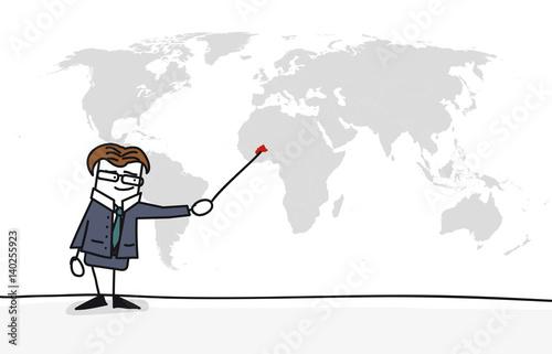 Photo  Personnage qui présente la carte du monde : burkina faso
