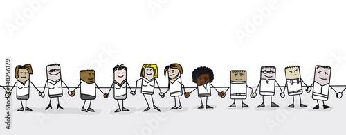 Fotografie, Obraz  Personnages qui se tiennent par la main