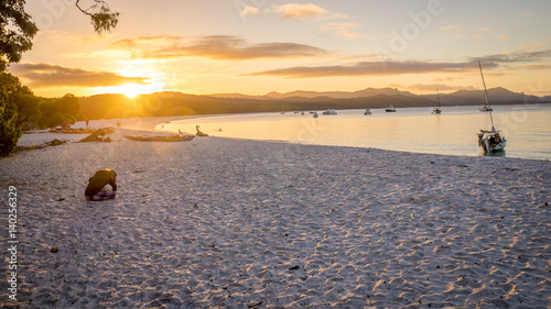 Sunset view of Whitehaven beach at Whitsunday Island in Queensland, Australia Canvas Print