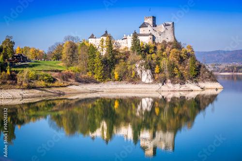 Castle on the lake in Niedzica, Poland