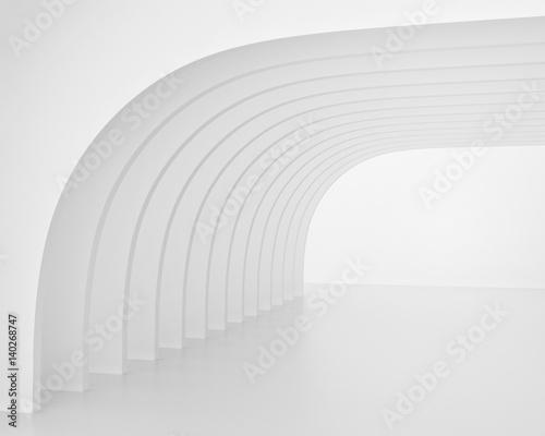 bialy-tunel-w-ksztalcie-luku-renderowania-3d