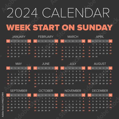Fotografia  Simple 2024 year calendar