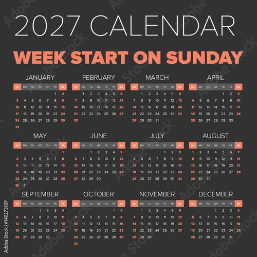 Poster  Simple 2027 year calendar