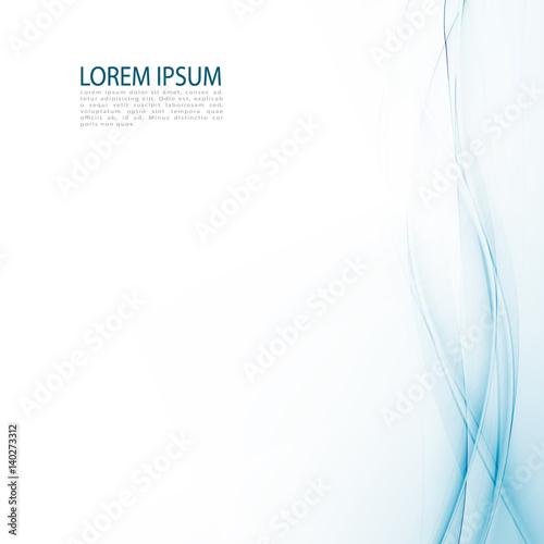 Fototapeta Blue abstraction smooth twist light lines vector background. obraz na płótnie