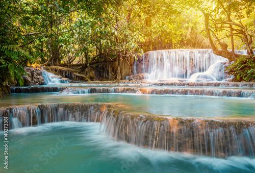 Waterfall in rain forest (Tat Kuang Si Waterfalls at Luang prabang, Laos.) © weerayut