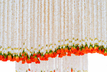 Artificial Flowers With Garland Hand Made By Pop Rice, Home Made For Background