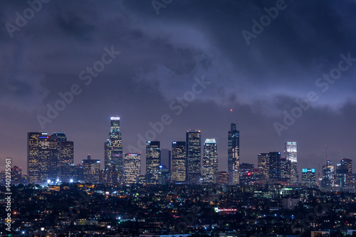Downtown Los Angeles Night Skyline With Clouds Canvas Print