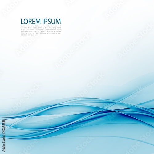 Photo Stands Abstract wave Blue abstraction smooth twist light lines vector background.