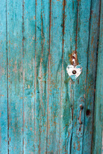 Old Wooden Shabby Blue Door On A Farm.
