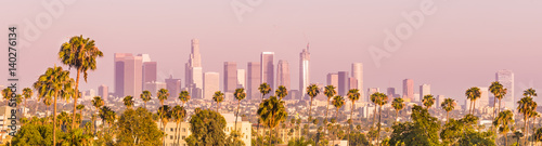 Photo  Downtown Los Angeles and Palm Trees at Sunset
