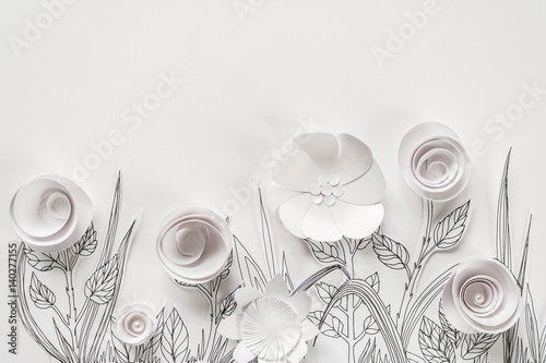 Fototapeta na wymiar 3d paper flowers with painted leaves and stems on the white background