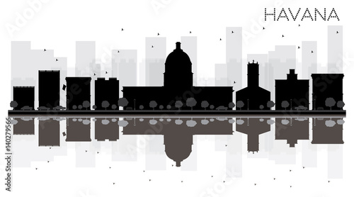 Havana City skyline black and white silhouette with reflections. Wallpaper Mural
