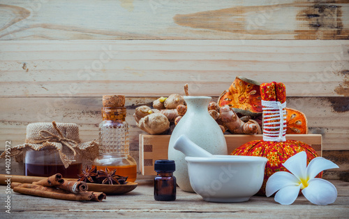 Natural Spa ingredients and herbal compress ball for alternative medicine and relaxation Wallpaper Mural