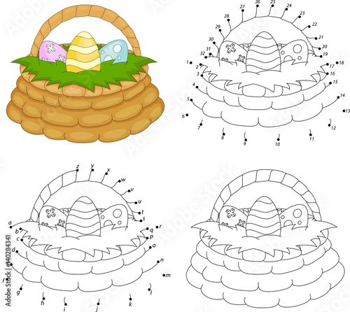 Photo  Cartoon basket with Easter eggs