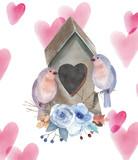 Akwareli karta z ptakami, kwiatami, gałąź, sercem, pudełkiem - 140286151