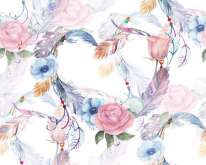 FototapetaWatercolor floral seamless pattern with hearts, feathers