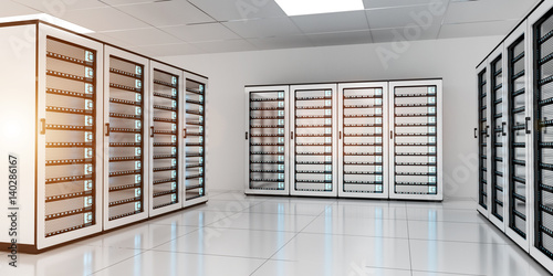 White server room data center storage 3D rendering