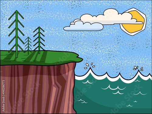Poster Ciel Summer landscape. High cliffs