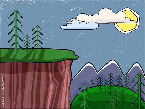 Poster Ciel Summer landscape. High cliffs. Green fir trees on top of the mountain.