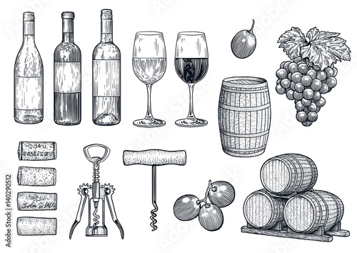Wine stuff illustration, drawing, engraving, ink, line art, vector