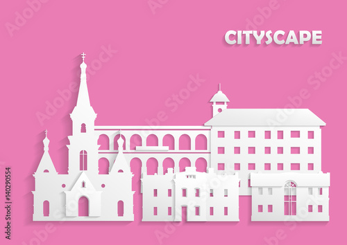 Staande foto Roze Template for the site, postcard, poster. The concept of ancient city cut out of white paper on pink background. Church, houses and arched bridge.