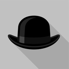 Bowler Hat Icon, Flat Style