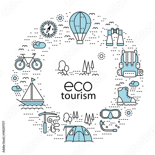 Fotografia  Eco tourism circle concept with modern line style icons
