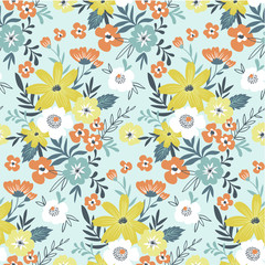 Trendy seamless floral ditsy pattern. Fabric design with simple flowers. Vector seamless background. Garden pattern.