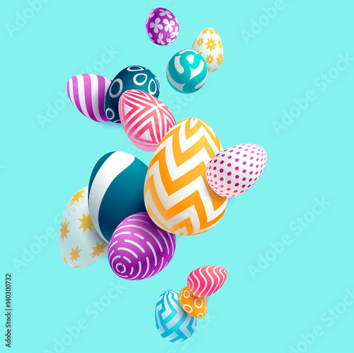 Photo  Composition of 3D Easter eggs. Holiday background.