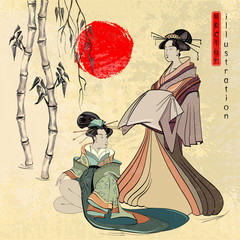 Fototapeta Japoński Beautiful japanese geisha girl, classical Japanese woman ancient style of drawing vector