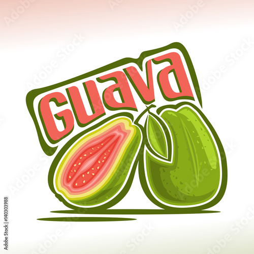 Vector logo Guava Fruit: still life of 2 whole and sliced