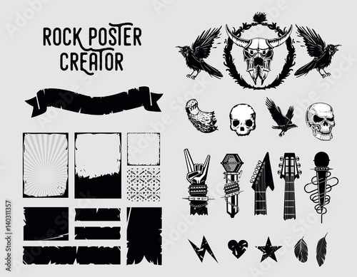 Grunge design elements. Sign and frame set for music posters. Canvas