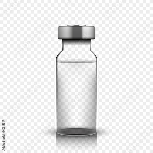 Transparent glass medical vial, vector illustration on simple background Canvas Print