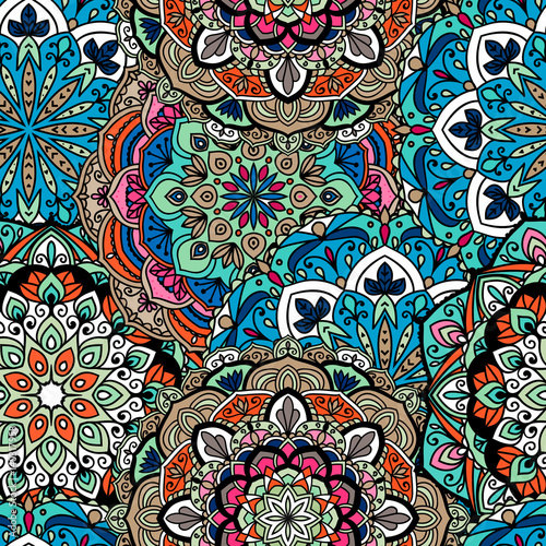 Cotton fabric Seamless ethnic pattern with floral motives. Mandala stylized print template for fabric and paper. Indian or Arabic motive. Boho festival style.