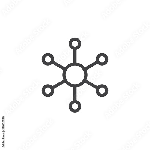 Fotografie, Obraz  Hub and spoke line icon, outline vector sign, linear style pictogram isolated on white