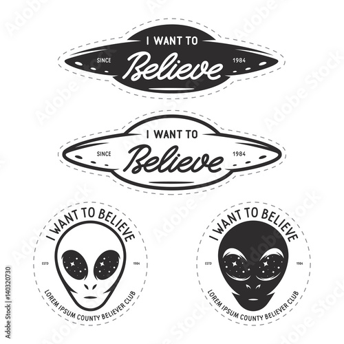 Photo I want to believe patches set. Vector vintage illustration.