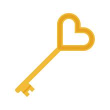 Flat Icon Gold Key Isolated On White Background. Vector Illustration.