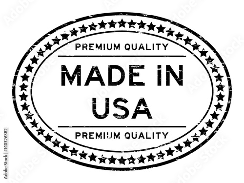 Photographie  Grunge black premium quality made in USA oval rubber seal stamp on white backgro
