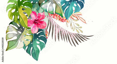 Foto  Hand drawn watercolor tropical plants
