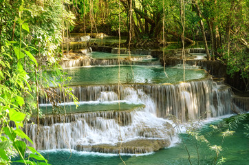 FototapetaBeautiful scenic of Huaymaekamin Waterfall in Kanchanaburi, Thailand.