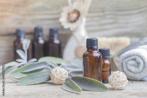 Photo  Essential oil sage towel spa