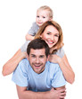 Portrait of happy young family with children.