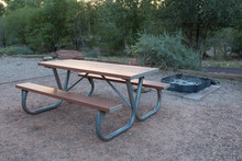 Wooden Bench In Camping Area