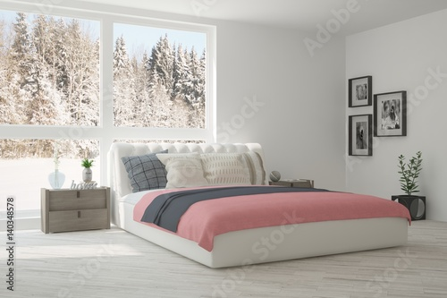Aluminium Prints Dark grey White bedroom with winter landscape in window. Scandinavian interior design. 3D illustration